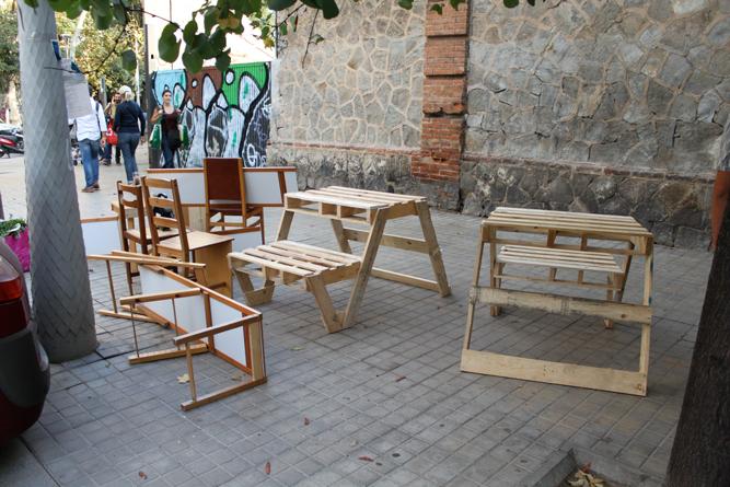 Diversas intervenciónes espacio público barrio de la Esquerra del Eixample. Barcelona, España. 2013.
